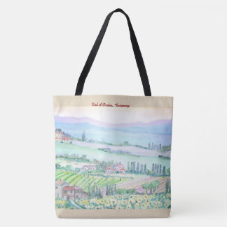 Val d'Orcia, All-Over-Print Tote Bag