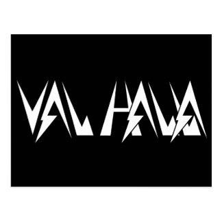 Val Halla FONT logo white on black Postcard