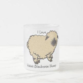 Valais Blacknose Sheep, I Love Frosted Glass Coffee Mug