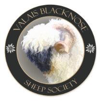 """Valais Blacknose Sheep Logo Round 3"""" Sticker -"""