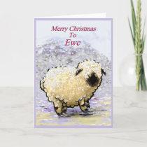 Valais Blacknose Sheep Merry Christmas Holiday Card