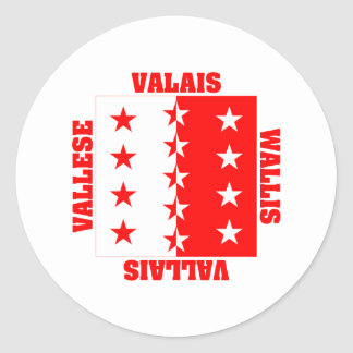 Valais Switzerland Canton Flag Classic Round Sticker