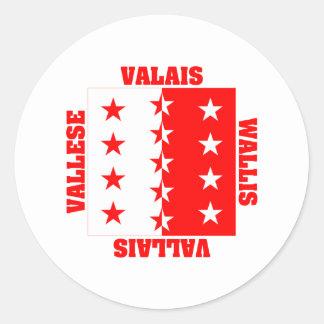 Valais Switzerland Canton Flag Classic Round Sticker