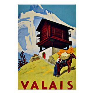 Valais,Switzerland Vintage Travel Poster