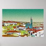 Valdelarco en multicolor, iglesia y casas blancas impresiones