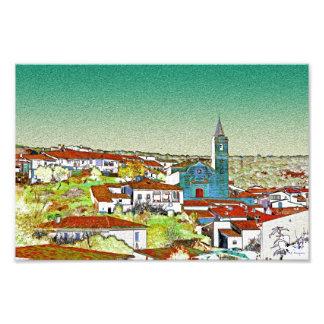 Valdelarco en multicolor, iglesia y casas blancas impresion fotografica
