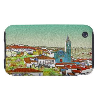 Valdelarco en multicolor, iglesia y casas serranas carcasa resistente para iPhone