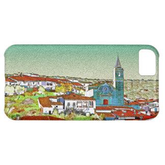 Valdelarco en multicolor, iglesia y casas serranas funda iPhone 5C