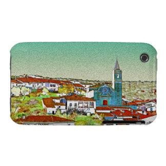 Valdelarco en multicolor, iglesia y casas serranas funda para iPhone 3