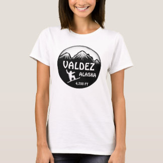 Valdez Alaska green ladies snowboard art tee