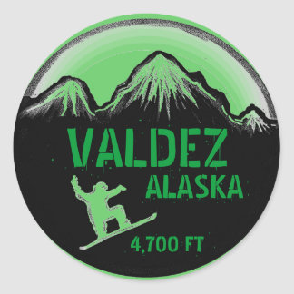 Valdez Alaska green snowboard art stickers