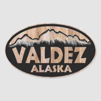 Valdez Alaska wooden sign oval stickers