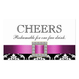 Vale blanco negro rosado de la bebida de la barra plantillas de tarjeta de negocio