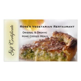 Vale del restaurante o vale del regalo plantilla de tarjeta personal