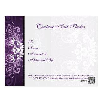 Vale floral púrpura y blanco del remolino postales