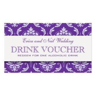 Vale púrpura de la bebida del boda del damasco tarjetas de visita