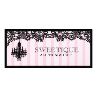 Vale rosado de 311 rayas de Sweetique Tarjetas Publicitarias Personalizadas