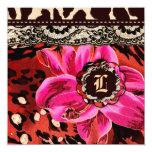 Vale salvaje del leopardo del rosa del lirio 311 invitación 13,3 cm x 13,3cm