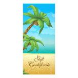 Vale tropical de la palmera y de la playa tarjeta publicitaria a todo color