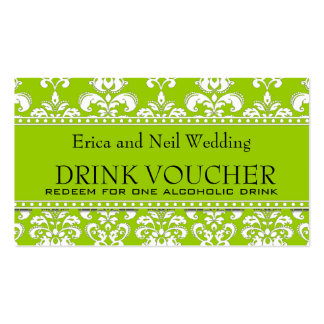 Vale verde de la bebida del boda del damasco para tarjetas de visita