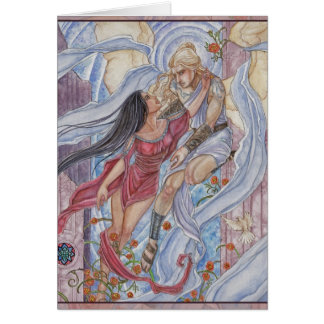 Valediction Angel and Mortal Lovers Card