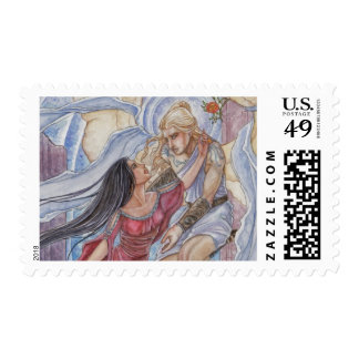 Valediction Angel and Mortal Lovers in Roses Postage