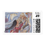 Valediction Angel and Mortal Lovers in Roses Postage Stamp