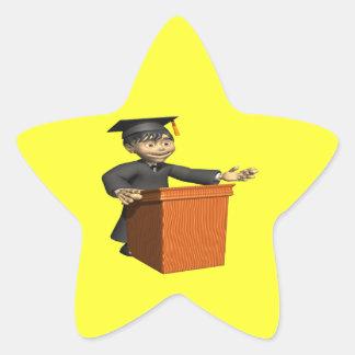 Valedictorian 3 pegatina en forma de estrella