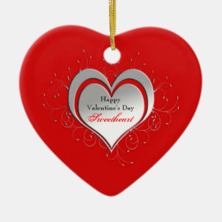 Valen tine's Heart Ornament - Personalized Christmas Tree Ornament