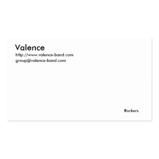 Valence, http://www.valence-band.com, group@val... business card