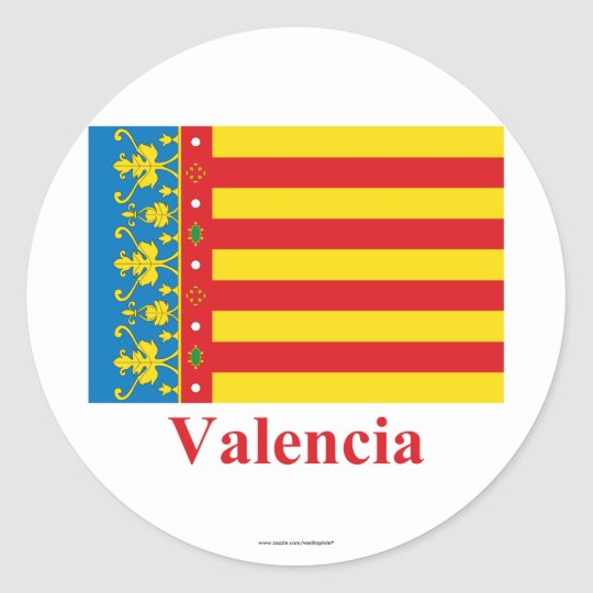 Valencia flag with name classic round sticker