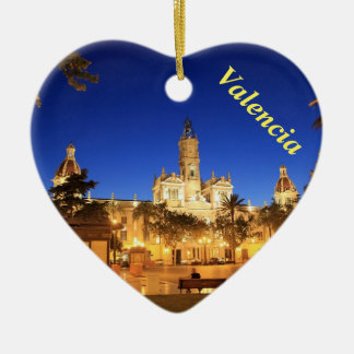 Valencia night view heart ornament