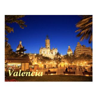 Valencia: Plaza Ayuntamiento por noche Postales
