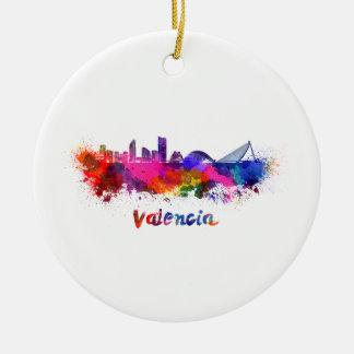Valencia skyline in watercolor ceramic ornament