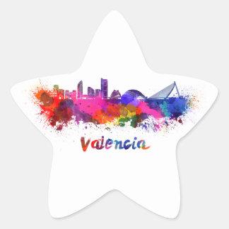 Valencia skyline in watercolor star sticker