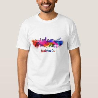 Valencia skyline in watercolor t-shirt