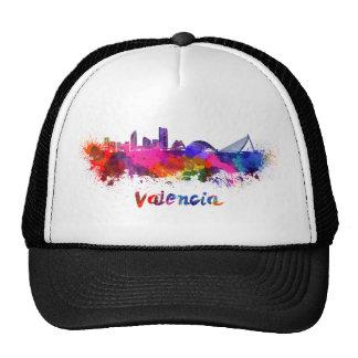 Valencia skyline in watercolor trucker hat