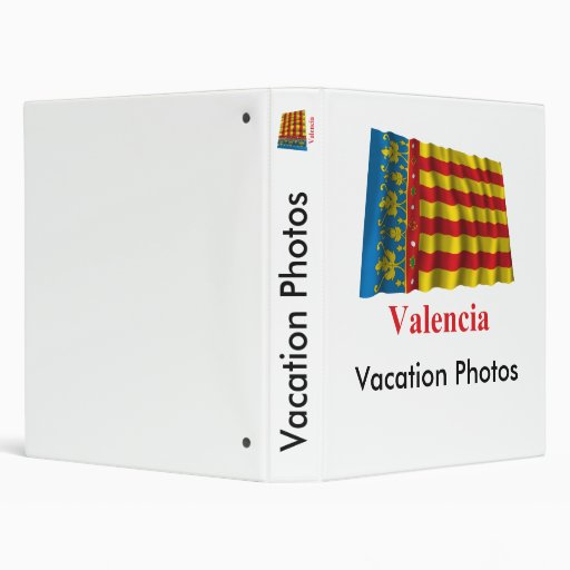 Valencia waving flag with name 3 ring binder