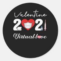 Valentine 2021 Distancing Love Face Mask Classic Round Sticker