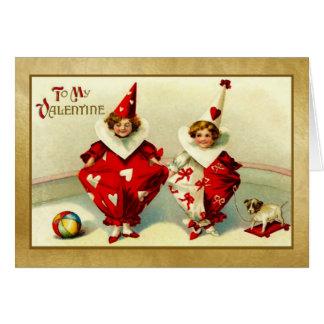 Valentine - 2 Children -Victorian vintage Card