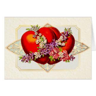 Valentine-2 red hearts-Victorian Vintage - Card