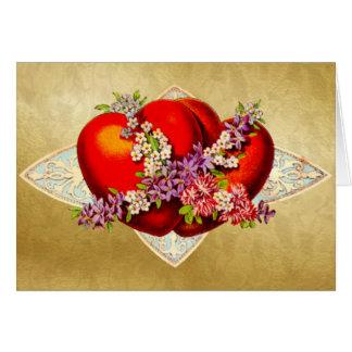 Valentine - 2 red hearts -Victorian vintage Card