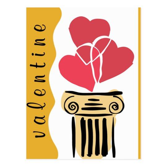 Valentine 3 Hearts Postcard