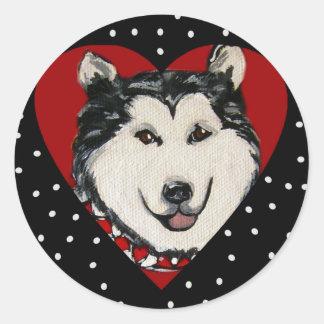 Valentine Alaskan Malamute Classic Round Sticker