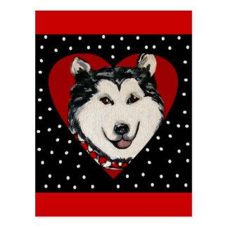 Valentine Alaskan Malamute Postcard