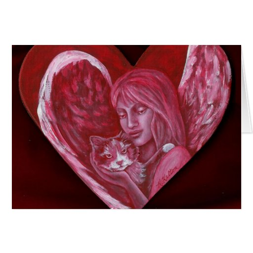 Valentine Angel and Calico Cat Blank Greeting Card