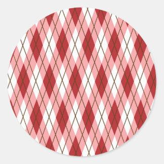 Valentine Argyle Classic Round Sticker