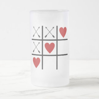 Valentine Arrows 'n Hearts Tic-Tac-Toe Large Glass Frosted Glass Beer Mug