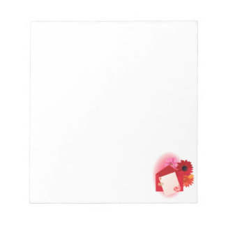 Valentine background card with hearts notepad