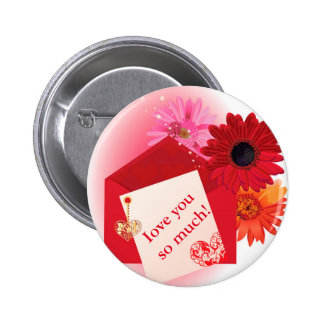 Valentine background card with hearts pinback button